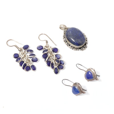 Sterling Silver Lapis Lazuli Earrings and Pendant