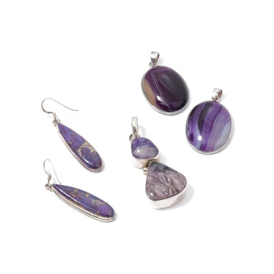 Sterling Silver Amethyst, Charoite, and Sugilite Pendants and Earrings
