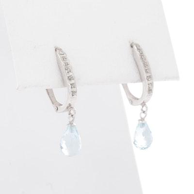 14K White Gold Blue Topaz and Glass Earrings