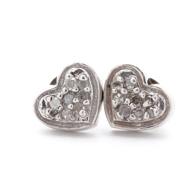 10K White Gold Diamond Heart Earrings