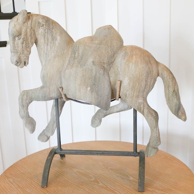 Resin Horse Statue with Metal Stand
