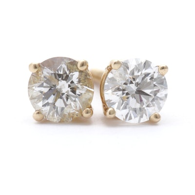 14K Yellow Gold .90 CTW Diamond Stud Earrings