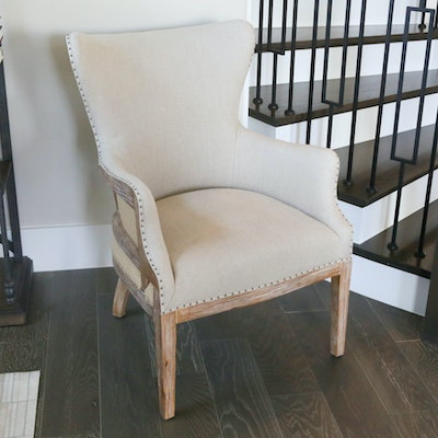 Natural Linen Upholstered Armchair, 21st Century