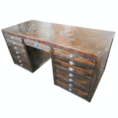 Contemporary Rustic Wooden Desk with Distressed Finish