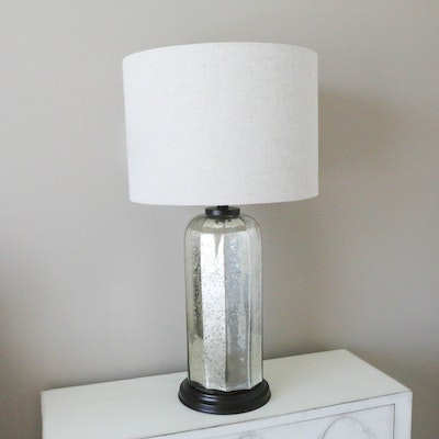 Mercury Glass Lamp with Linen Drum Shade