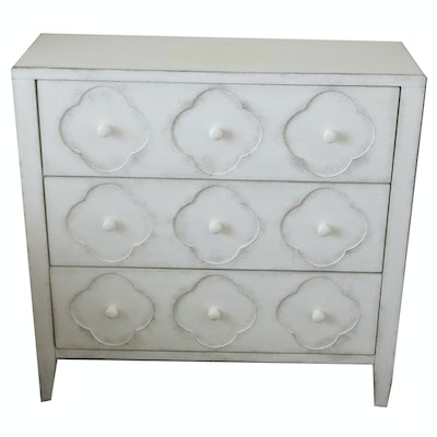 Contemporary Three-Drawer Chest with Distressed White Painted Finish