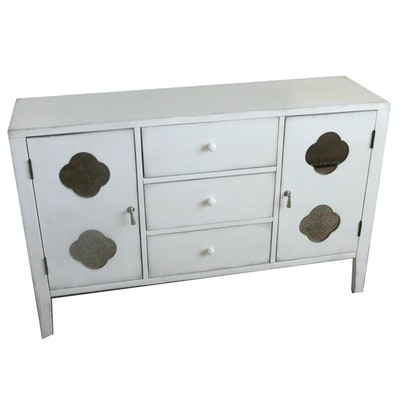Contemporary Wooden Dresser with Distressed White Painted Finish