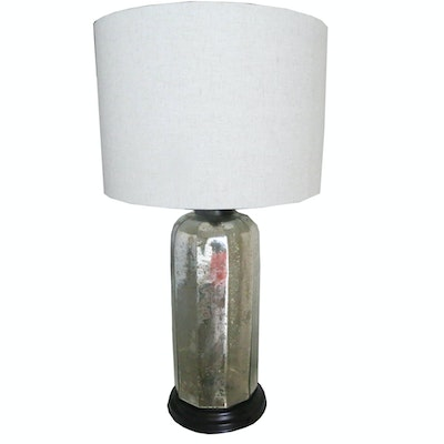 Mercury Glass Table Lamp with Drum Shade
