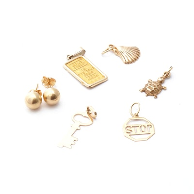 14K Yellow Gold Charms and Stud Earrings