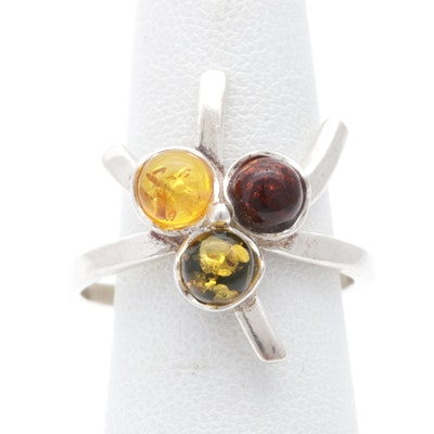 Sterling Silver Tri-Tone Amber Ring