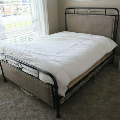 Contemporary Upholstered Metal Full Size Bedframe