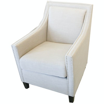 Contemporary Natural Linen Upholstered Armchair