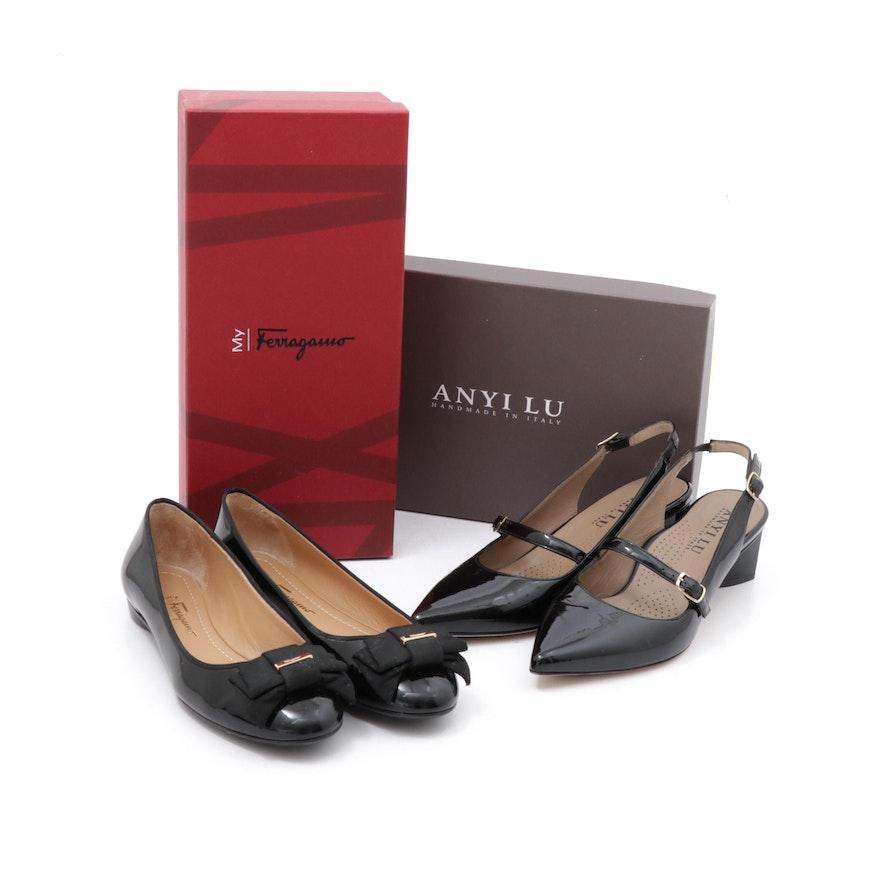 Salvatore Ferragamo and Anyi Lu Gigi Black Patent Leather Flats and Slingbacks
