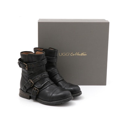 UGG Collection Black Leather Elisabeta Moto Boots, Made in Italy