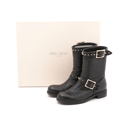 Jimmy Choo London Dash Black Leather Biker Boots with Studs