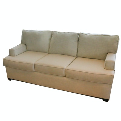 Contemporary White Fabric Upholstered Sofa