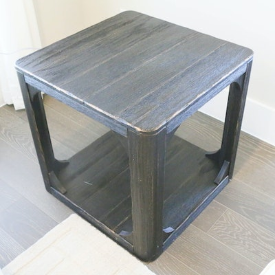 Contemporary Distressed Wooden End Table