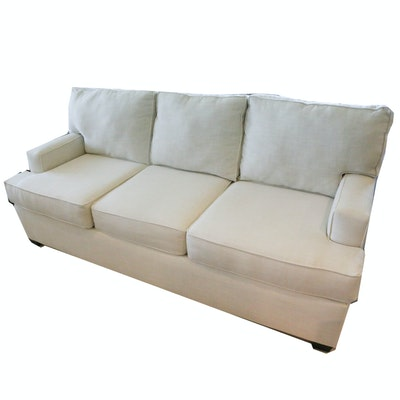 White Fabric Upholstered Sofa, 21st Century