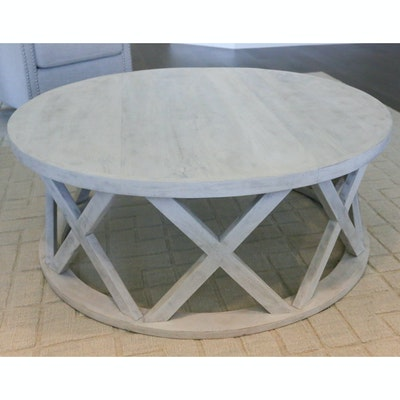 Round Wooden Coffee Table with Lightly Distressed Finish, 21st Century