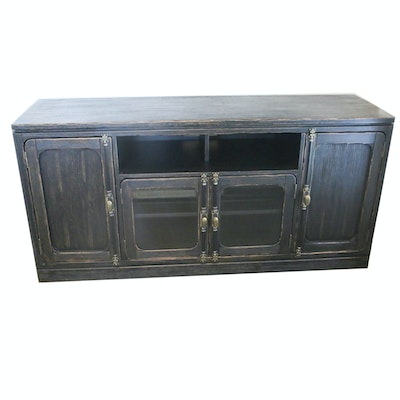Distressed Black Finish Wooden Entertainment Cabinet, 21st Century