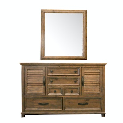 Contemporary Distressed Wooden Dresser with Wall Mirror