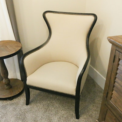 Contemporary Cream Fabric Upholstered Armchair with Brass Nailhead Trim
