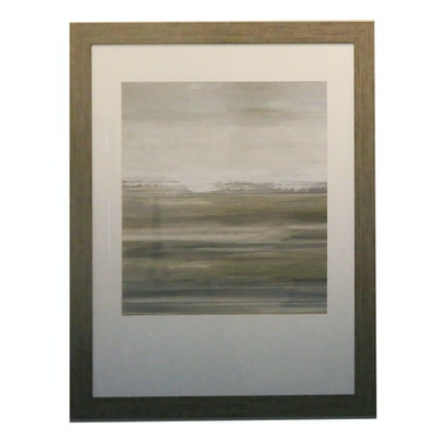 Framed Abstract Offset Lithograph Print with Distressed Wooden Frame