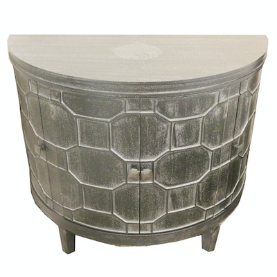 Wooden Nightstand with Raised Geometric Pattern; 21st Century