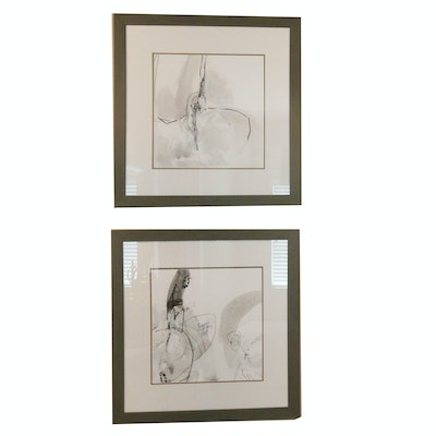Pair of Framed Black and White Abstract Prints