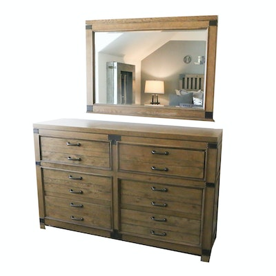 Contemporary Legacy Classic Wooden Dresser and Mirror with Metal Accents