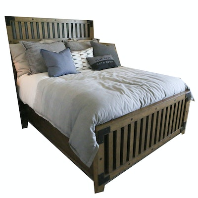 Contemporary Wood and Metal Queen-Size Bedframe with Bedding
