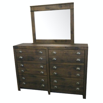 Contemporary Rustic Dresser with Attached Mirror