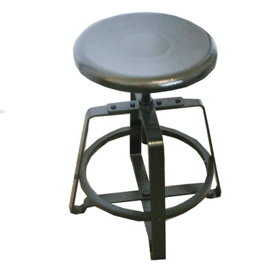 Contemporary Metal Industrial-Style Stool with Black Finish
