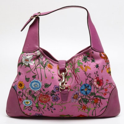 Gucci Pink Jackie O Bouvier Botanical Floral Canvas and Leather Hobo Bag