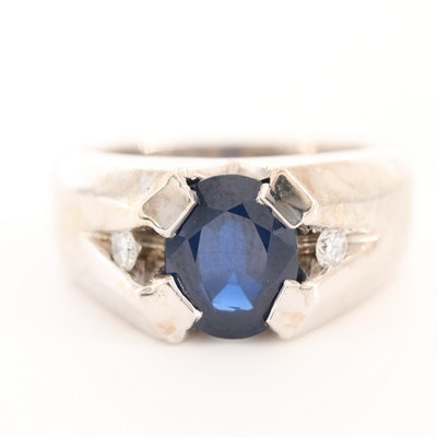 14K White Gold 3.09 CT Sapphire and Diamond Ring
