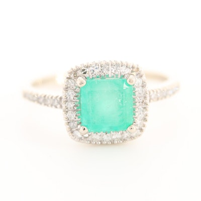 14K White Gold 1.32 CT Emerald Ring with Diamond Halo