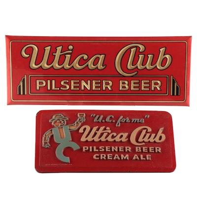 Utica Club Pilsener Beer Advertising Signs, Mid-Century