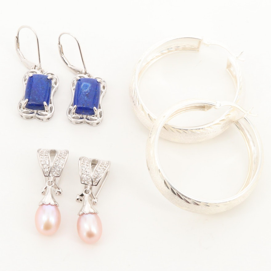 Sterling Silver Earrings with Lapis Lazuli, Topaz and Imitation Pearl