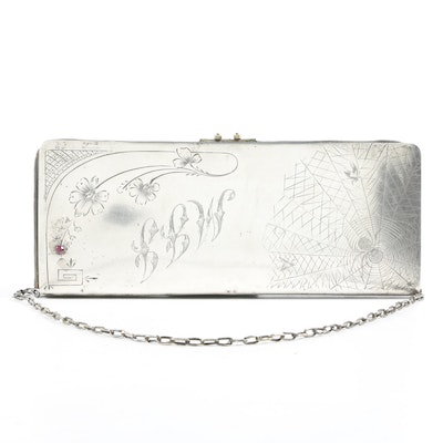 875 Russian Silver Purse with Spider and Fly Engraving, Early 20th Century
