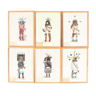 "Elizabeth Roth Miller ""Hopi Kachina Dolls"" Acrylic Paintings"