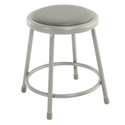 National Public Seating, Powder-Coated Tubular Steel and Grey Vinyl Stool