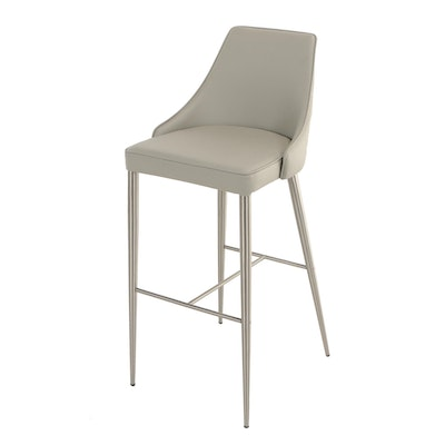 Star International, Brushed Stainless Steel and Grey Synthetic Leather Bar Stool