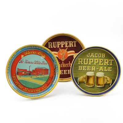 Ruppert and West End Brewing Co. Enameled Tin Serving Trays