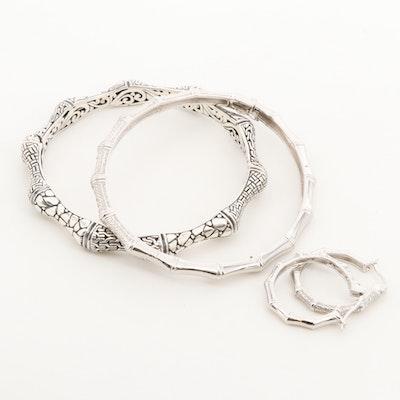 Sterling Hinged Bangle Bracelets and Hoop Earrings including Sarda and Diamonds
