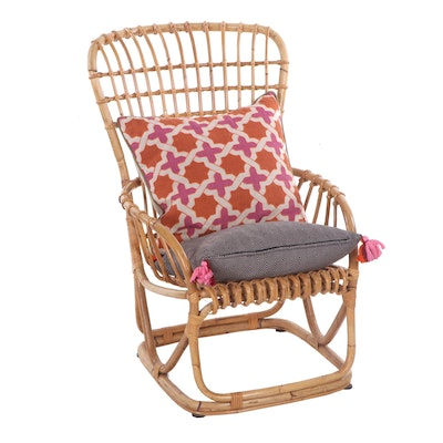 Contemporary Rattan High Back Lounge Chair