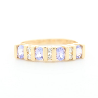 Alwand Vahan 14K Yellow Gold Tanzanite and Diamond Band