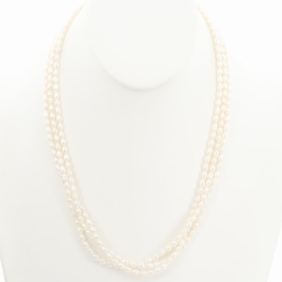 Triple Strand Cultured Pearl Necklace with 14K Yellow Gold Closure