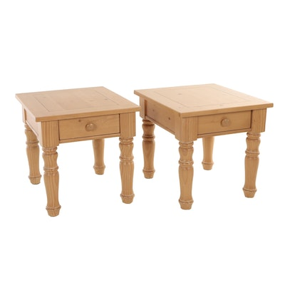 Broyhill, Pair of French Provincial Style Pine One-Drawer Side Tables