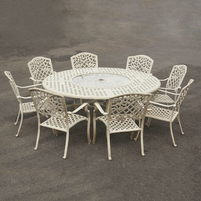 Aluminum Patio Table with Lazy Susan with 8 Chairs