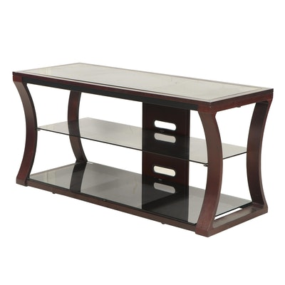 Alart Wood and Tempered Glass Media Stand, Late 20th Century